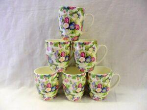 Set of 6 Morning Glory design aspen china mugs