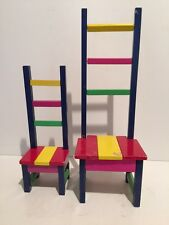 Vintage! Dept 56 Colorful Wood Doll Chairs Set of 2