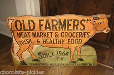 BiG Farmer Grocery Meat Dairy Market COW SIGN*Primitive/French Country Farmhouse