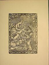 Antigua xilografía imprimir imagen religiosa gótica medieval ~ ~ Niño Angel monja