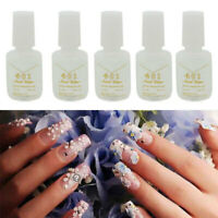 5X Nail Art Glue With Brush On Strong Adhesive Lady Girl Fake Acrylic False Tip