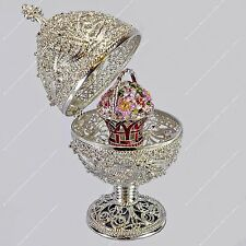 "5.4"" SILVER FILIGREE EGG TRINKET BOX ST-PETERSBURG RUSSIAN FABERGE TRADITIONS"
