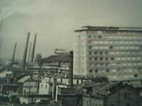 ephemera picture - old undated duisberg skyline factory view
