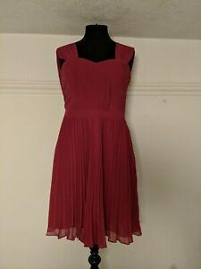 Oasis Size 12 Maroon Pleat Dress Wedding Bridesmaid Occasion Dress