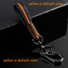 Yellow Universal Leather Strap Key Chain For Ford Leather Braded Rope Keychains