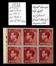 GB 1936 Ed.VIII - 1½d Booklet Pane As Described DC425