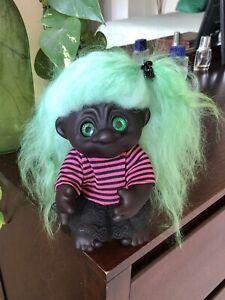 "Dam Troll 9"" OOAK Black Girl. Icelandic Fur Hair. Spiral Eyes"