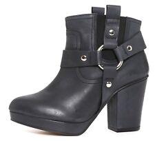 Topshop Heel Leather Booties Black Women Sz 38 EUR 2915