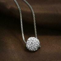 Strass Anhänger Kristall Zirkon Halskette Frauen Silber Kette Metall Schmuc F8G9