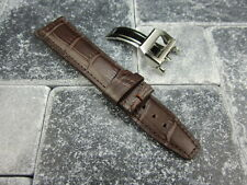 22mm Leather Strap Deployment Buckle Brown Watch Band SET IWC PILOT Portuguese R