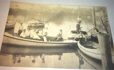 Rare Antique American Boating Sailboat River Nautical Real Photo Postcard! RPPC!