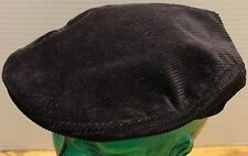 VINTAGE BLACK CORDUROY CABBIE/NEWSBOY HAT USA UNION MADE SIZE MEDIUM VGC
