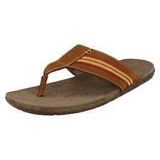 Mens FRAME TOE POST tan leather flip flops by HUSH PUPPIES Retail