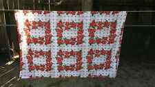 """Print Red Poinsettia Christmas Rectangle 80""""X60"""" Tablecloth Free Shipping"""