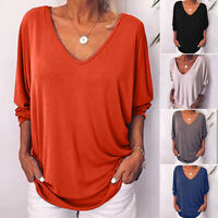 Womens Baggy Deep V Neck Loose Tops Long Sleeve Casual Blouse T Shirt Plus Size