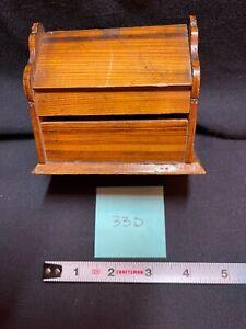 Treen Antique Wooden Lidded Ink Well w/ Ink Jar, Medium Wood Tone