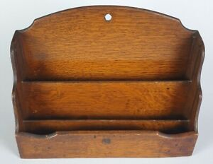 5318 Early/Mid 20th Century Oak Stationery/Letter Rack With Wire Mesh Base