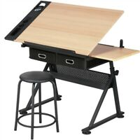 Adjustable Drafting Table Art Craft Writing Desk Drawing Tiltable with Stool
