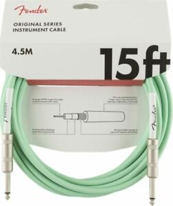 FENDER GUITAR CABLE LEAD 15FT / 4.5M - SURF GREEN - GIFT IDEA GUITARIST