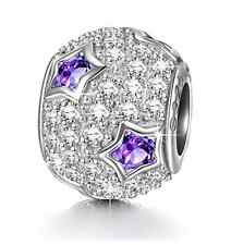 Ninaqueen 925 Sterling Silver Star Pave Purple Cubic Zirconia Charms