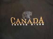Canada French River Bear Logo Vacation Souvenir Outdoors Black T Shirt M