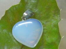 20 mm Mondstein Opalit rep. Herz Ketten Anhänger mit Edelstahl Ketten Schlaufe
