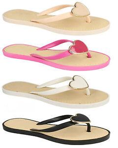 Sale Ladies Jellie Style Heart Toepost Flip Flops Summer Mules Sandals F0784