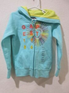 NWT GAP KIDS Girls Zip Up Colorful Logo Aqua Hoodie Sweatshirt XS 4-5yrs