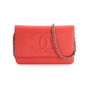 CHANEL Chain Long Wallet Caviar Skin Leather Red A48654 90120417