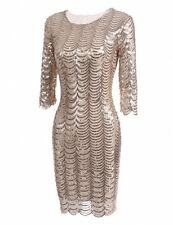 """GOLDIE"" STUNNING LADIES SIZE 10 NUDE SEQUIN FITTED COCKTAIL EVENING DRESS"