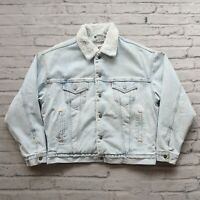 Vintage 90s Levis Sherpa Denim Trucker Jean Jacket Size L Made in USA Acid Wash