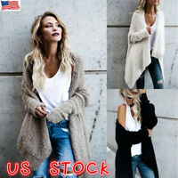US Women Baggy Ladies Cardigan Coat Tops Chunky Knitted Oversized Sweater Jumper