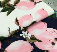 AUS Stock PER METER 148cm Wide Pink Lemon Print Cotton Poplin Fabric