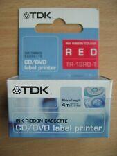 More details for tdk tr-18rd-t red ink 4m cartridge cassette ribbon for cd label printer