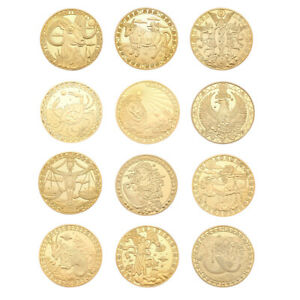 12 Constellation Gold Plated Physical Commemorative Coin Collectible Gift