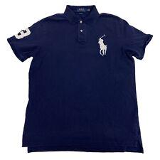 Mens Large Polo Ralph Lauren Custom Fit Blue Big Pony Cotton Golf Polo Shirt L