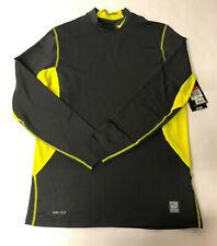 Mens Nike Pro Combat Dri Fit Gray Stretch Fleece Lined Long Sleeve Shirt Large