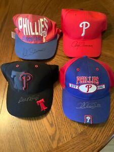 LOT OF 4 VINTAGE PHILADELPHIA PHILLIES SIGNED BASEBALL HATS CAP HUNT AUCTION LOA