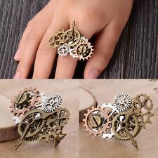 Fashion Steampunk Combination Clock Gear 3D Design Ring Retro Jewelry Gift