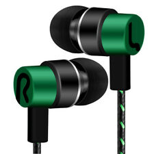 Universal 3.5mm In-ear Stereo Earbuds Earphone HIFI Mic for Samsung iPhone Cool Green