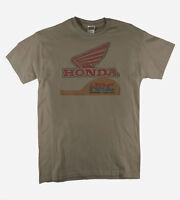 Honda Racing Retro Track Team Classic Distressed Print Putty T-Shirt