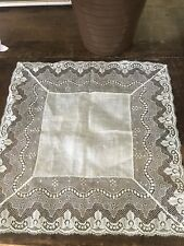 Vtg Antique French Brussels Lace Bridal Wedding Handkerchief Gorgeous Heirloom