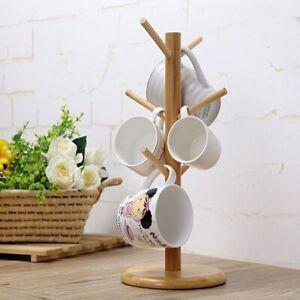 Hanging Tea Cup Holder Coffee Mug Tree Rack Holder Kitchen Storage Tools Wooden