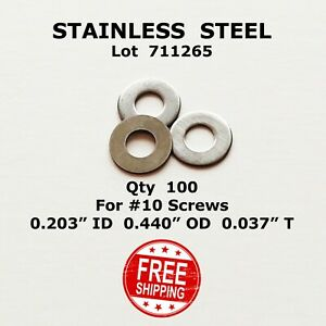 """FLAT WASHERS STAINLESS STEEL #10 (100) 0.203"""" ID 0.440"""" OD 0.037""""     711265"""