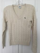 LACOSTE TAN Cable Knit V-Neck Long Sleeve Cotton Sweater Women's Sz 38