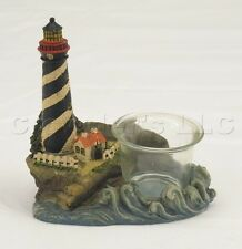 Decorative Ceramic Light House on Coast Candle Holder w/ Glass Cup