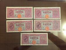 LOTTO 5 BANCONOTE 100 LIRE ITALIA TURRITA 10 dicembre 1944 numismatica SABAUDA