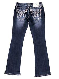 Miss Me Signature Boot Cut Paisley Flap Pocket Jeans Size 25 Women's