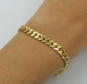 Vintage Italian Solid 18K Yellow Gold Diamond Cut Curb Chain Bracelet 7 ½ Inches