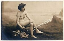 Nude Woman W aulos flute/mujer desnuda m doble-flauta * vintage 1900s photo PC